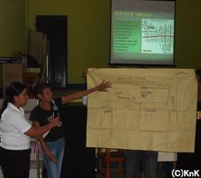 防災教育において地域の地図を描く参加者