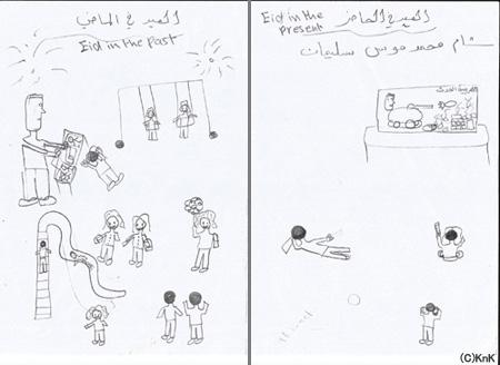左:シリアにて、公園で友だちと楽しく過ごす  右:ヨルダンで、母国の紛争のニュースをTVで観て過ごす