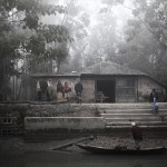 ピロジュプール県の農村。朝霧が緑豊かな森の村を包み込む。
