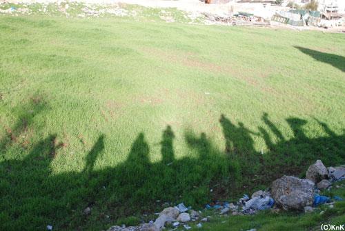 子どもたちの影が一列に。