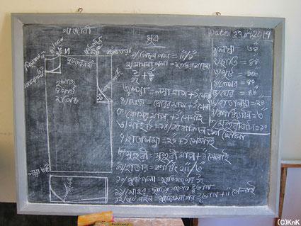 インストラクターが黒板に形とサイズを図示